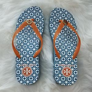 Tory Burch Blue Adonis Wedge Flip-Flops